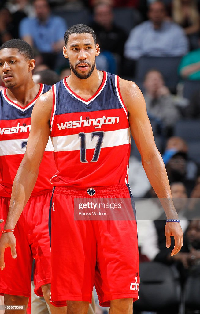 Garrett Temple of the Washington Wizards looks on during the game against the Charlotte Hornets on March 9 2015 at Time Warner Cable Arena in...