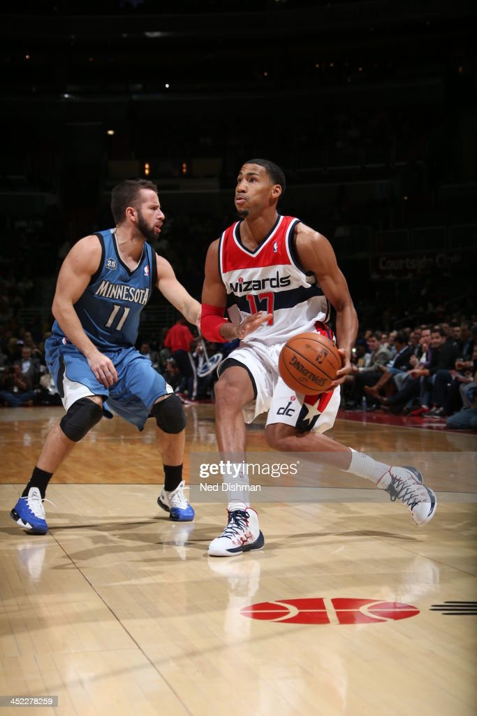 <a gi-track='captionPersonalityLinkClicked' href=/galleries/search?phrase=Garrett+Temple&family=editorial&specificpeople=709398 ng-click='$event.stopPropagation()'>Garrett Temple</a> #17 of the Washington Wizards looks to pass the ball against the Minnesota Timberwolves during the game at the Verizon Center on November 19, 2013 in Washington, DC.