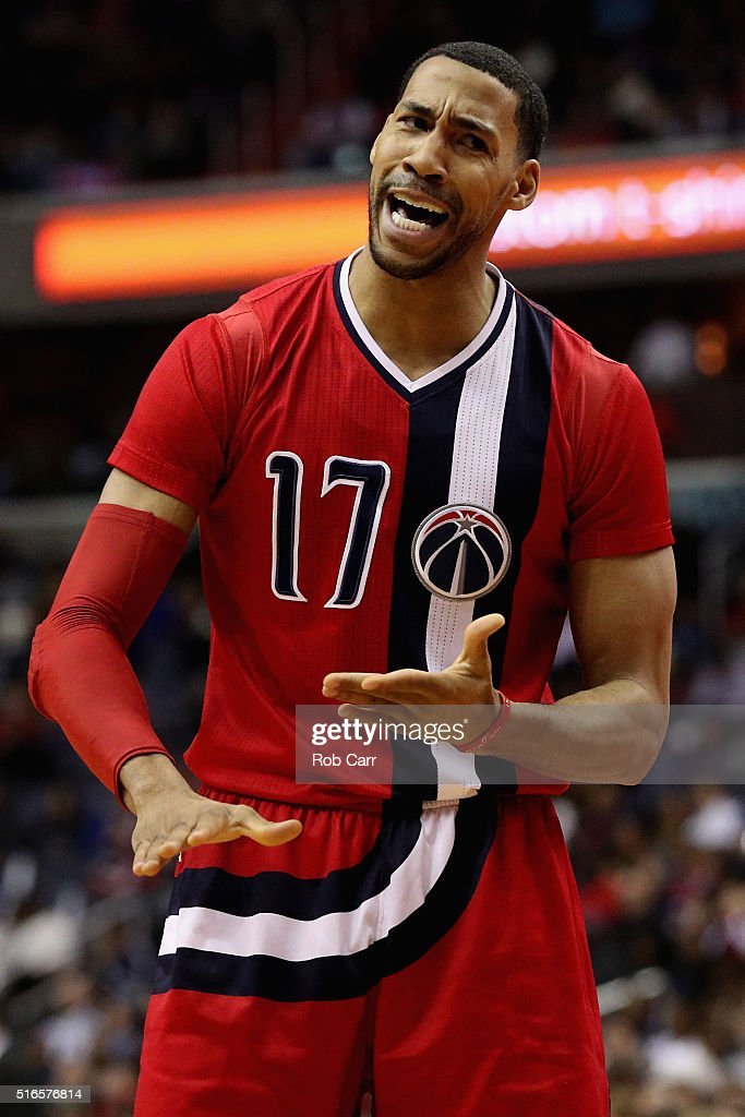 Garrett Temple of the Washington Wizards reacts to a first half foul call against him against the New York Knicks at Verizon Center on March 19 2016...