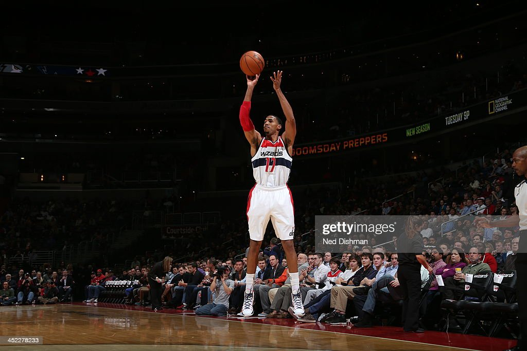 <a gi-track='captionPersonalityLinkClicked' href=/galleries/search?phrase=Garrett+Temple&family=editorial&specificpeople=709398 ng-click='$event.stopPropagation()'>Garrett Temple</a> #17 of the Washington Wizards shoots a three pointer against the Minnesota Timberwolves during the game at the Verizon Center on November 19, 2013 in Washington, DC.
