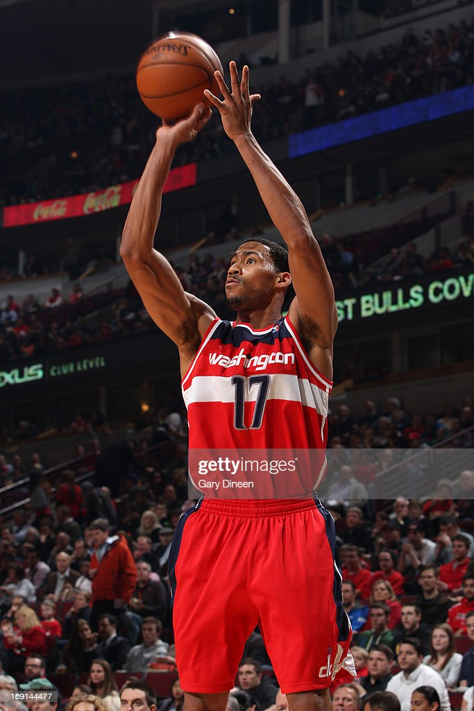 Garrett Temple of the Washington Wizards shoots against the Chicago Bulls on April 17 2013 at the United Center in Chicago Illinois NOTE TO USER User...