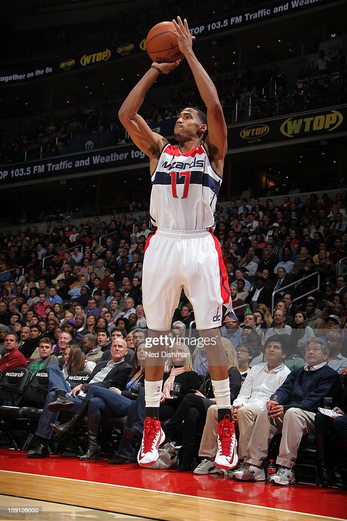 <a gi-track='captionPersonalityLinkClicked' href=/galleries/search?phrase=Garrett+Temple&family=editorial&specificpeople=709398 ng-click='$event.stopPropagation()'>Garrett Temple</a> #17 of the Washington Wizards shoots against the Oklahoma City Thunder the Verizon Center on January 7, 2013 in Washington, DC.