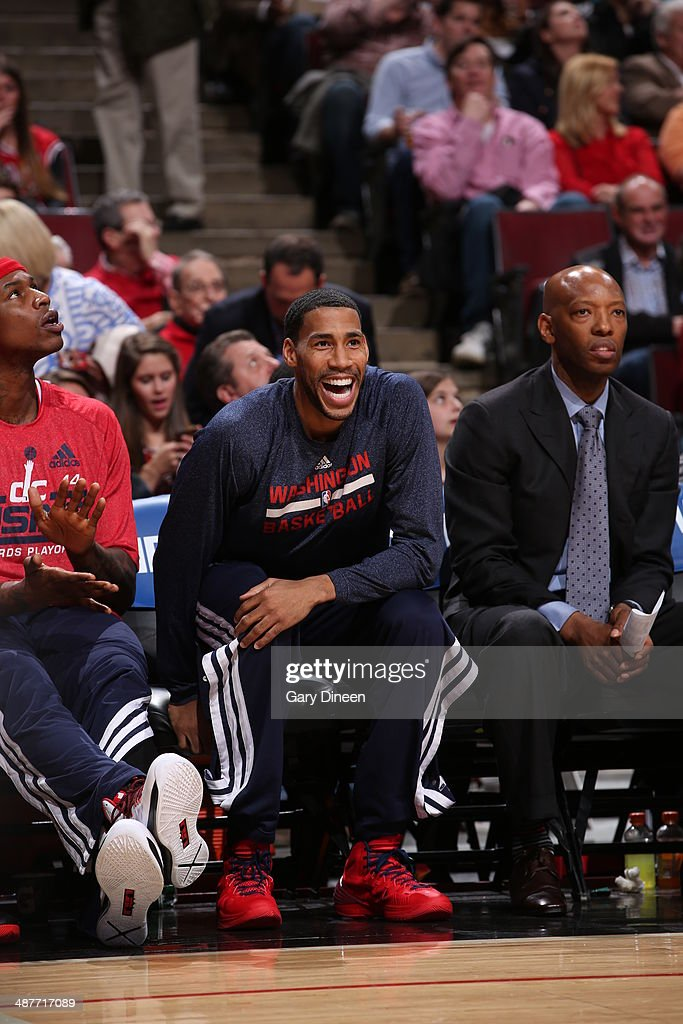 <a gi-track='captionPersonalityLinkClicked' href=/galleries/search?phrase=Garrett+Temple&family=editorial&specificpeople=709398 ng-click='$event.stopPropagation()'>Garrett Temple</a> #17 of the Washington Wizards sits on the sideline during a game against the Chicago Bulls in Game 5 of the Eastern Conference Quarterfinals in the 2014 NBA Playoffs on April 29, 2014 at the United Center in Chicago, Illinois.