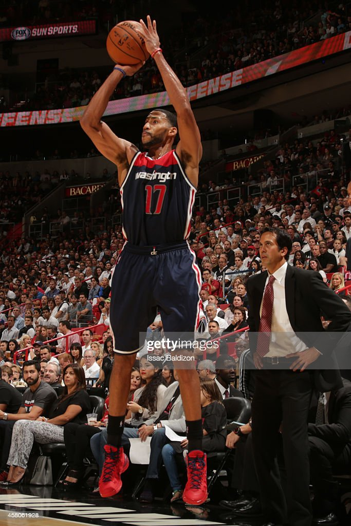 Garrett Temple of the Washington Wizards takes a shot against the Miami Heat on October 29 2014 at AmericaAirlines Arena in Miami Florida NOTE TO...