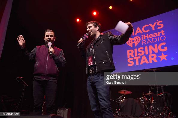 Garrett Vogel and Phill Kross speak on stage during Z100 CocaCola All Access Lounge at Z100's Jingle Ball 2016 Presented by Capital One preshow at...