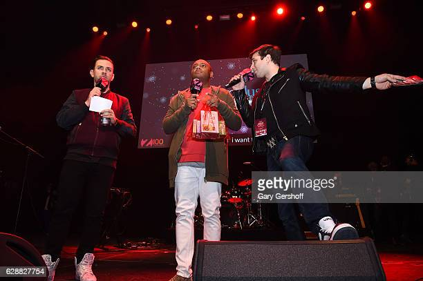 Garrett Vogel Maxwell Jones and Phill Kross speak on stage during Z100 CocaCola All Access Lounge at Z100's Jingle Ball 2016 Presented by Capital One...
