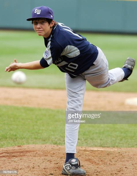 Garrett Williams of the Southwest team from Lubbock Texas delivers a pitch against the Northwest team from Lake Oswego Oregon during the United...