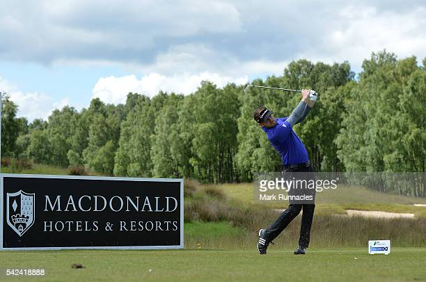 Garrick Porteous of England at the 16th hole during the first day of the 2016 SSE Scottish Hydro Challenge at the MacDonald Spay Valley Golf Course...