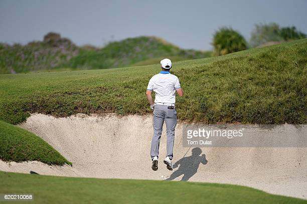 Garrick Porteous of England checks his line during day one of the NBO Golf Classic Grand Final at Al Mouj Golf on November 2 2016 in Muscat Oman