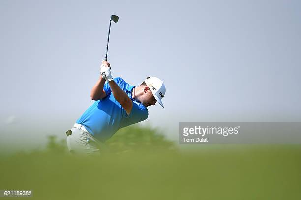 Garrick Porteous of England hits an approach shot during day four of the NBO Golf Classic Grand Final at Al Mouj Golf on November 5 2016 in Muscat...