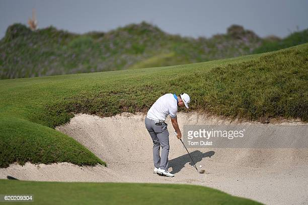 Garrick Porteous of England hits from a bunker during day one of the NBO Golf Classic Grand Final at Al Mouj Golf on November 2 2016 in Muscat Oman
