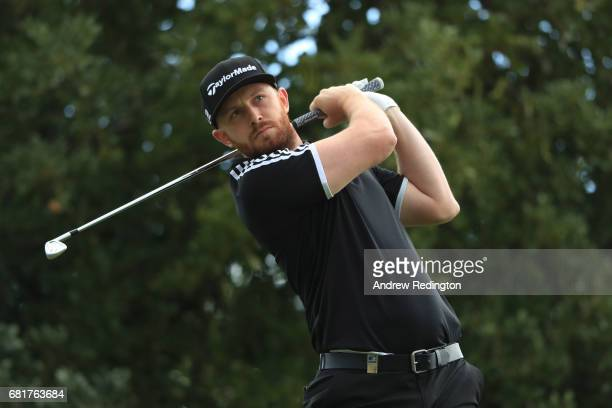 Garrick Porteous of England hits his tee shot on the 12th hole during the first round of the Open de Portugal at the Morgado Golf Resort on May 11...
