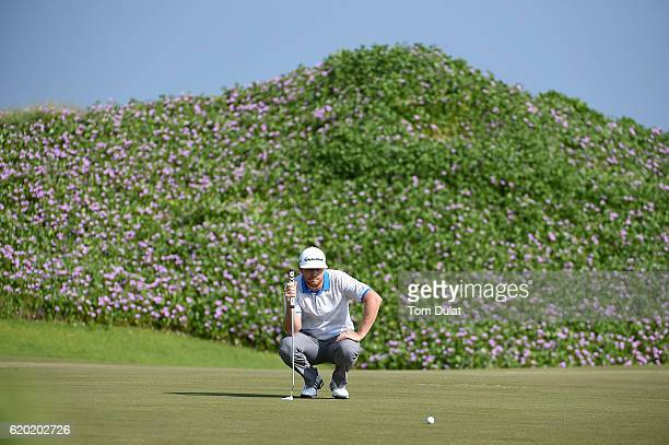 Garrick Porteous of England lines up a putt during day one of the NBO Golf Classic Grand Final at Al Mouj Golf on November 2 2016 in Muscat Oman