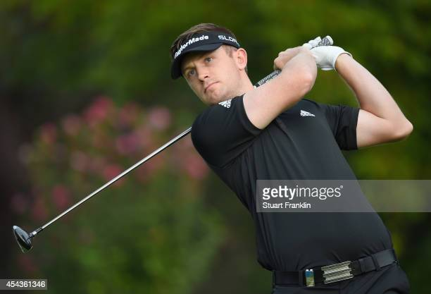 Garrick Porteous of England plays a shot during the third round of the 71st Italian Open Damiani at Circolo Golf Torino on August 30 2014 in Turin...