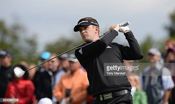 Garrick Porteous of England plays his first shot on the 1st tee during day four of DD REAL Czech Masters at Albatross Golf Resort on August 24 2014...