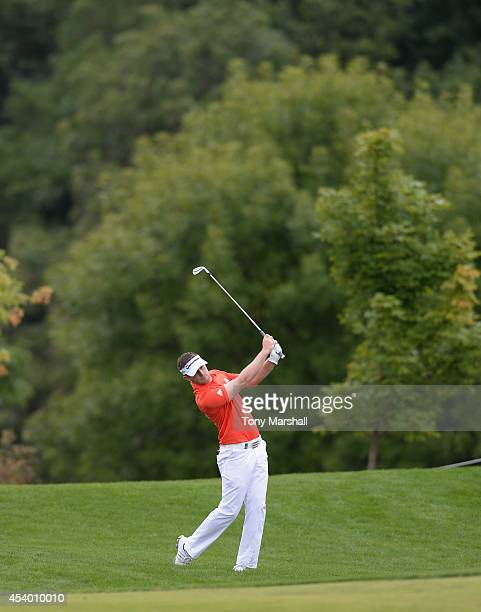 Garrick Porteous of England plays his second shot on the 5th fairway during day three of DD REAL Czech Masters at Albatross Golf Resort on August 23...
