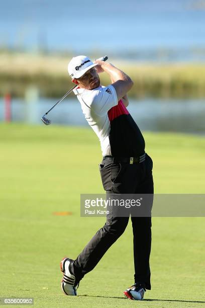 Garrick Porteous of England plays second shot on the 3rd hole during round one of the ISPS HANDA World Super 6 at Lake Karrinyup Country Club on...