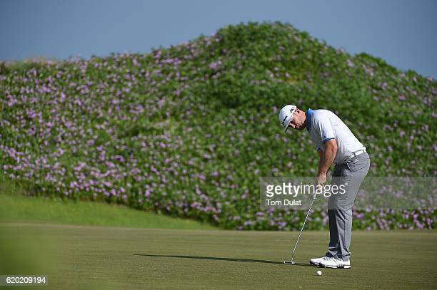 Garrick Porteous of England putts during day one of the NBO Golf Classic Grand Final at Al Mouj Golf on November 2 2016 in Muscat Oman