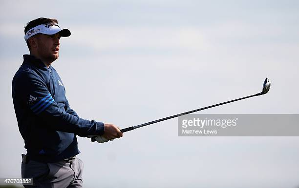 Garrick Porteous of England tees off during day one of the Challenge de Madrid at the El Encín Golf Hotel on April 22 2015 in Madrid Spain