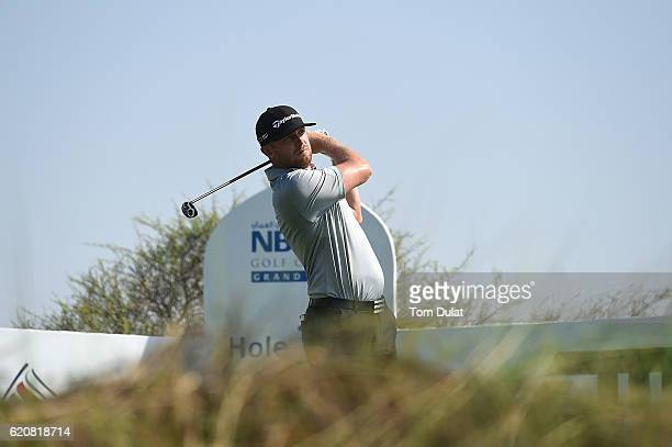 Garrick Porteous of England tees off on the 14th hole during day two of the NBO Golf Classic Grand Final at Al Mouj Golf on November 3 2016 in Muscat...