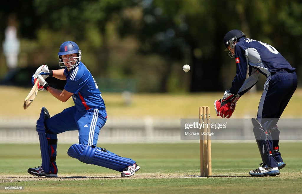 Garry Balance of the England Lions hits the ball during the International tour match between the Victorian 2nd XI and the England Lions at Junction Oval on February 7, 2013 in Melbourne, Australia.