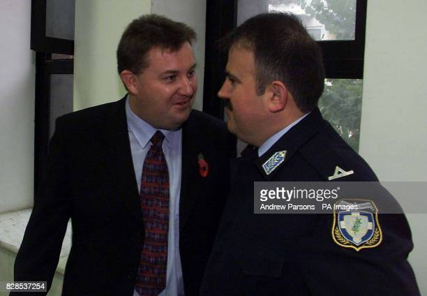 Garry Fagan from Kegworth Leicestershire meets the local Policeman he met in jail in Kalamata Court for his appeal after being found guilty of...