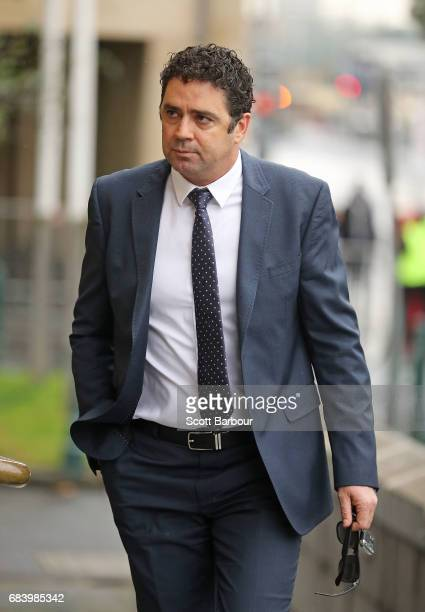 Garry Lyon arrives during the Lou Richards State Funeral Service at St Paul's Cathedral on May 17 2017 in Melbourne Australia