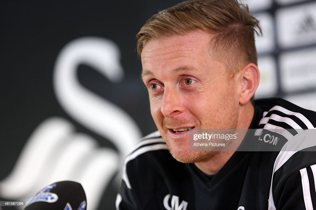 Garry Monk, manager for Swansea, talks to the media during the Swansea City Press Conference on January 15, 2015 in Swansea, Wales.