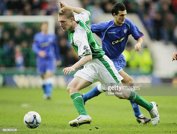Garry O'Conner of Hibernian in action during the Bank of Scotland Scottish Premier League match between Hibernian and Rangers at Easter Road Stadium...