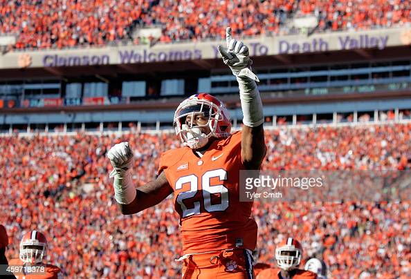 Garry Peters of the Clemson Tigers reacts after breaking up a pass during their game against the South Carolina Gamecocks at Memorial Stadium on...
