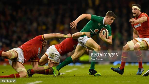 Garry Ringrose is tackled by the Wales defence during the Six Nations match between Wales and Ireland at the Principality Stadium on March 10 2017 in...