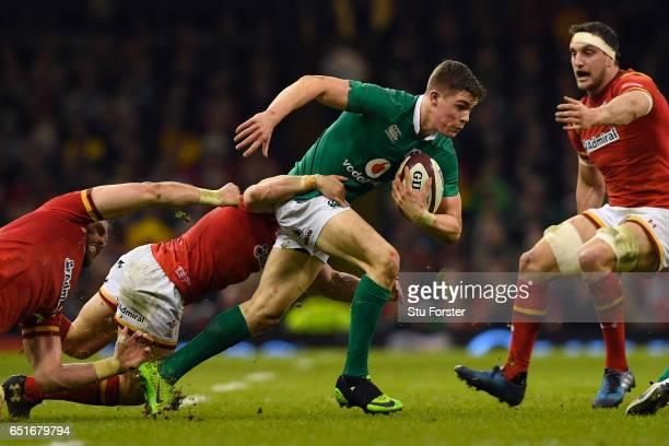 Garry Ringrose of Ireland attempts to break through during the Six Nations match between Wales and Ireland at the Principality Stadium on March 10...