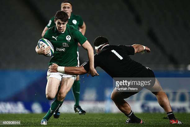 Garry Ringrose of Ireland makes a break during the 2014 Junior World Championship 3rd Place playoff match between New Zealand and Ireland at Eden...