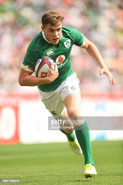 Garry Ringrose of Ireland runs with the ball during the international rugby friendly match between Japan and Ireland at Shizuoka Stadium on June 17...