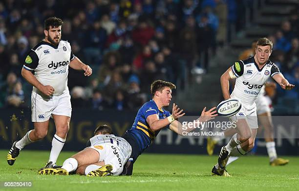Garry Ringrose of Leinster and Matt Banahan of Bath during the European Champions cup Pool 5 rugby game at the RDS arena on January 16 2016 in Dublin...