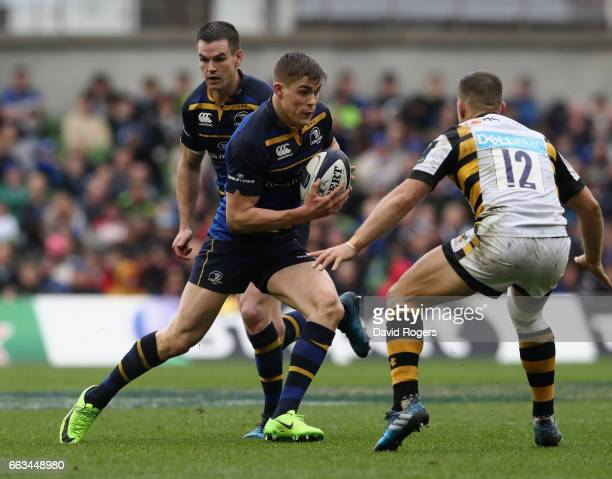 Garry Ringrose of Leinster charges upfield during the European Rugby Champions Cup match between Leinster and Wasps at the Aviva Stadium on April 1...