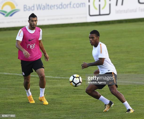 Garry Rodrigues and Younes Belhanda of Galatasaray attend a training session at Therme Stadium in Bad Waltersdor town of Graz Austria on August 03...