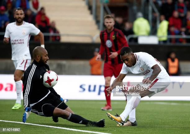 Garry Rodrigues of Galatasaray in action against goal keeper Aly Keita of Ostersund during the UEFA Europa League 2nd Qualifying Round soccer match...