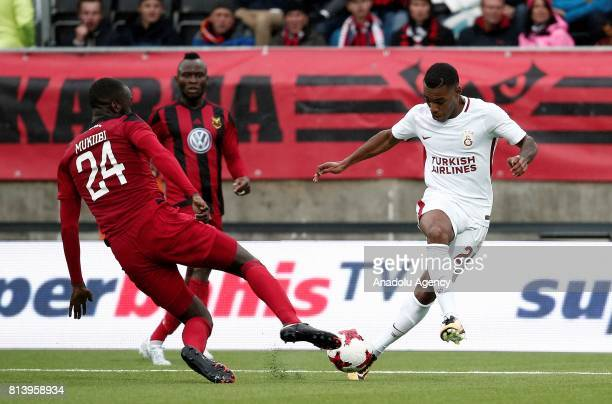 Garry Rodrigues of Galatasaray in action against Ronald Mukiibi during the UEFA Europa League 2nd Qualifying Round soccer match between Galatasaray...