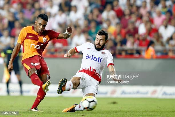 Garry Rodrigues of Galatasaray in action during the 4th week of the Turkish Super Lig match between Antalyaspor and Galatasaray at the Antalya...