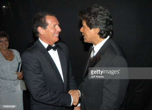 Garry Shandling and George Lopez during 55th Annual Primetime Emmy Awards Governors Ball at The Shrine Auditorium in Los Angeles California United...