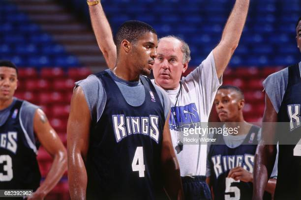 Garry St Jean of the Sacramento Kings looks on during pracitce circa 1996 at Arco Arena in Sacramento California NOTE TO USER User expressly...