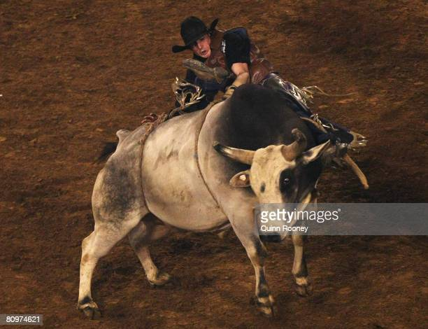 Garth Beauchamp of Queensland competes in the Bull Riding during the State of Origin International Rodeo 2008 at Rod Laver Arena on May 3 2008 in...