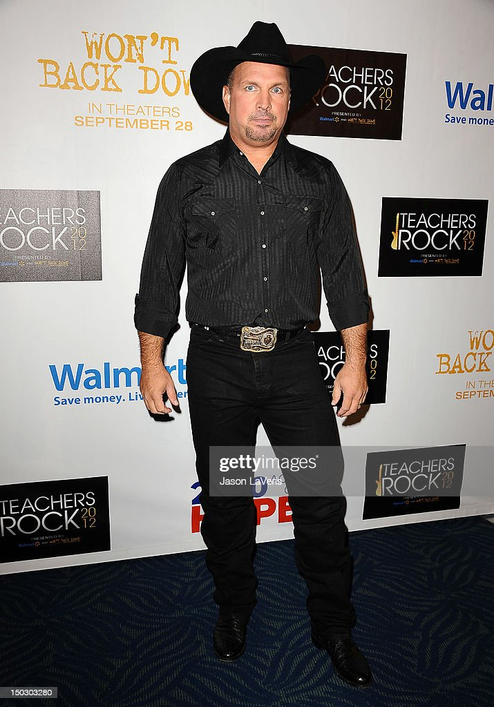 <a gi-track='captionPersonalityLinkClicked' href=/galleries/search?phrase=Garth+Brooks&family=editorial&specificpeople=206288 ng-click='$event.stopPropagation()'>Garth Brooks</a> attends the 'Teachers Rock' benefit at Nokia Theatre L.A. Live on August 14, 2012 in Los Angeles, California.