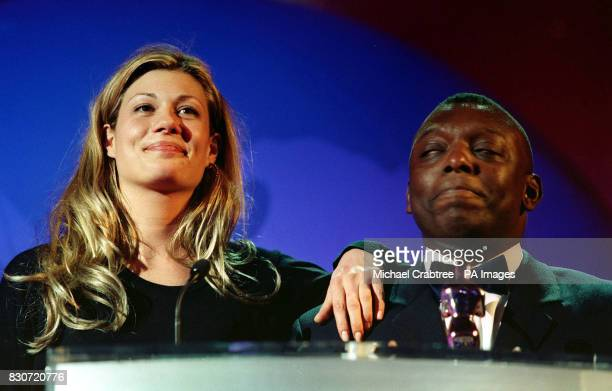 Garth Crooks and Tania Strecker at the EMMA in the Grosvenor Hotel London