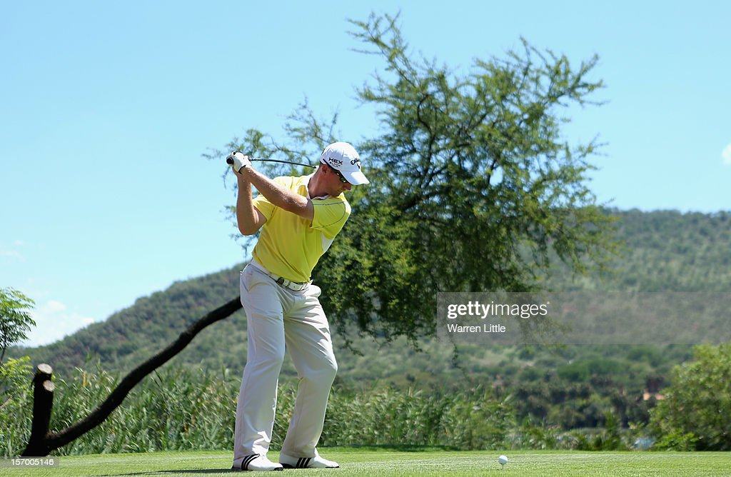 Garth Mulroy of South Africa in action during a practice round ahead of the Nedbank Golf Challenge at the Gary Player Country Club on November 27, 2012 in Sun City, South Africa.