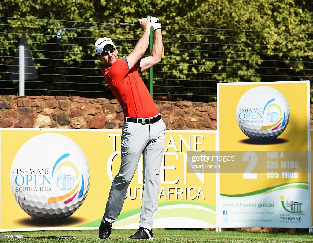 Garth Mulroy of South Africa plays a shot during the third round of the Tshwane Open at Pretoria Country Club on February 13, 2016 in Pretoria, South Africa.