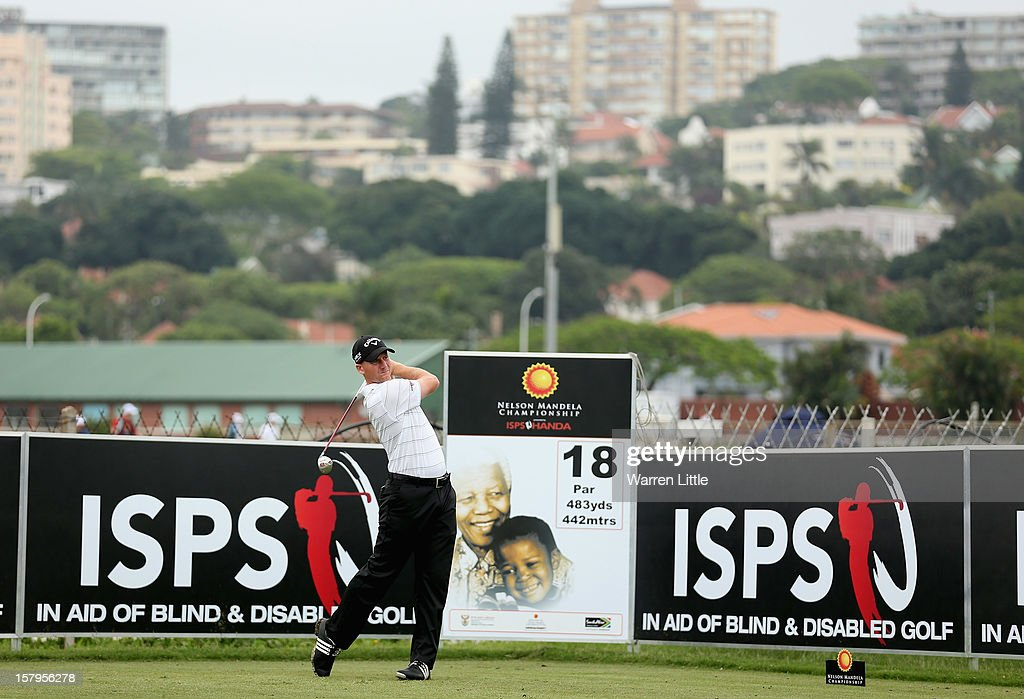 Garth Mulroy of South Africa tees off on the 18th hole during the first round of The Nelson Mandela Championship presented by ISPS Handa at Royal Durban Golf Club on December 8, 2012 in Durban, South Africa.
