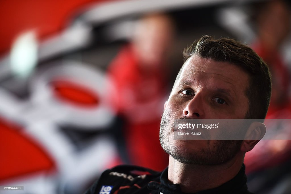 <a gi-track='captionPersonalityLinkClicked' href=/galleries/search?phrase=Garth+Tander&family=editorial&specificpeople=675225 ng-click='$event.stopPropagation()'>Garth Tander</a> driver of the #2 Holden Racing Team Holden Commodore VF during practice for the V8 Supercars Perth SuperSprint at Barbagallo Raceway on May 6, 2016 in Perth, Australia.
