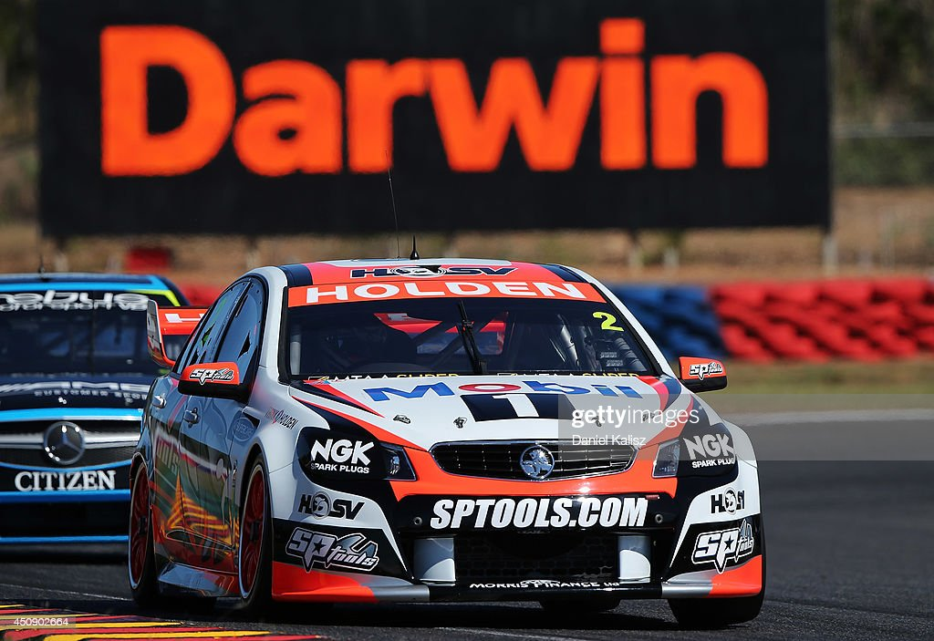 Garth Tander drives the #2 Holden Racing Team Holden during practice for the Triple Crown Darwin, which is round six of the V8 Supercar Championship Series at Hidden Valley Raceway on June 20, 2014 in Darwin, Australia.